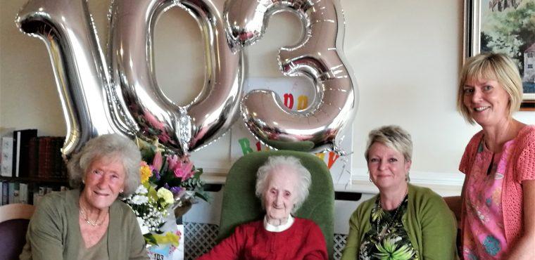 Ava celebrates 103rd birthday at Pelton Grange Care Home