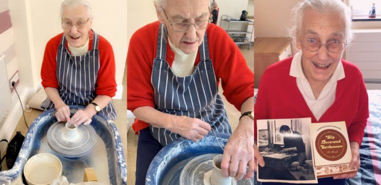 Retired potter gives her carers a lesson in pottery making