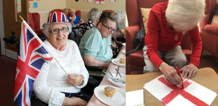 St George's Day indoor street party at Teesside care home