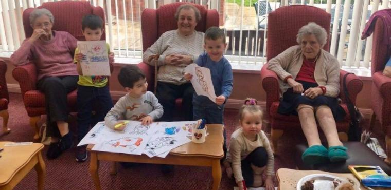 Nursery children visit care home for Storytelling Week