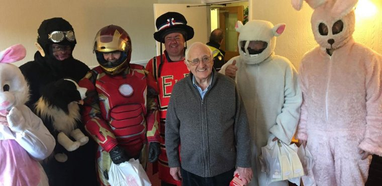 Costumed bikers deliver Easter eggs to Ingleby residents