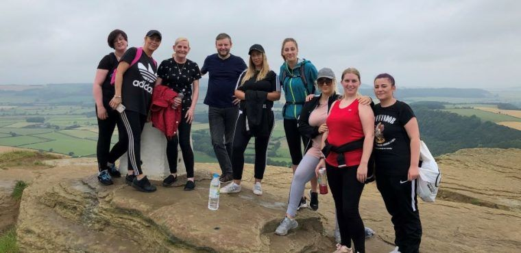 Care home staff summit Roseberry Topping for Macmillan