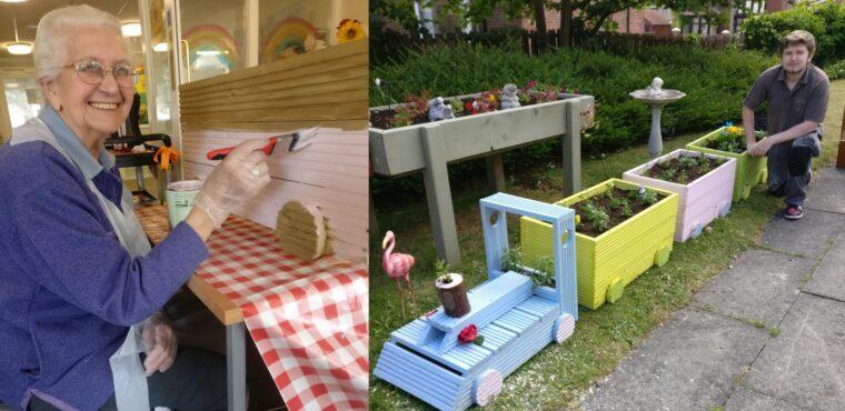 Train planter arrives at care home sensory garden station