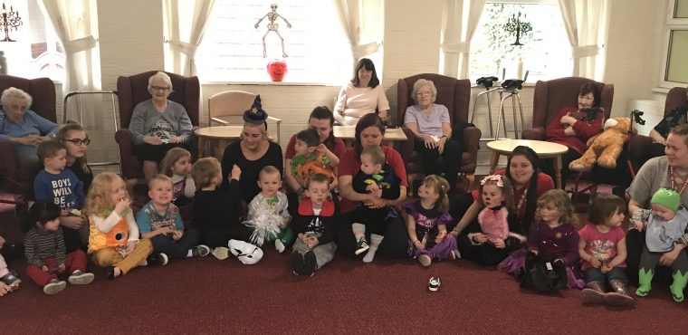 Tiny nursery terrors trick or treat Widnes care home