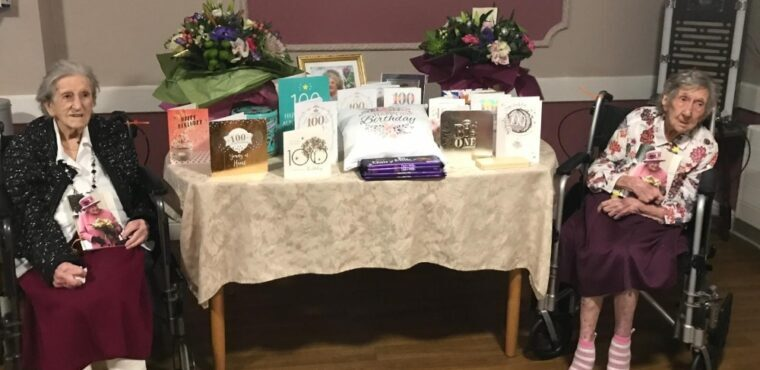 Edna and Marjorie celebrate centuries at Chesterfield care home