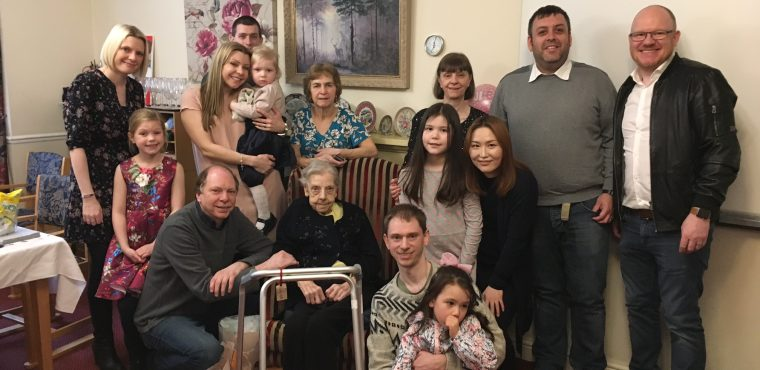 100th birthday party for Kathleen at Longmoor Lodge