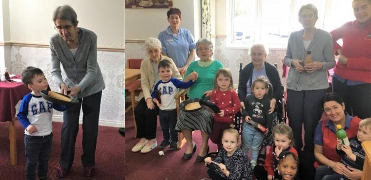 Intergenerational pancake tossing in Teesside