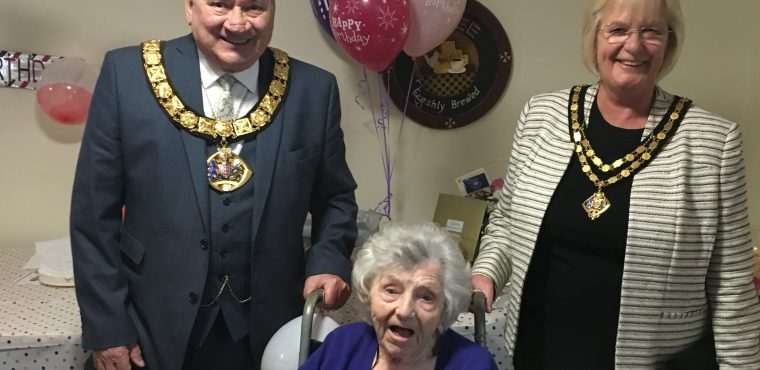 Centenarian celebrates birthday with Mayor and Mayoress