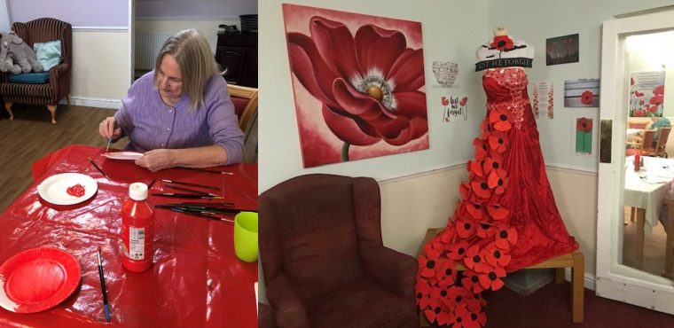 Poppy gown created by care home in tribute to veterans