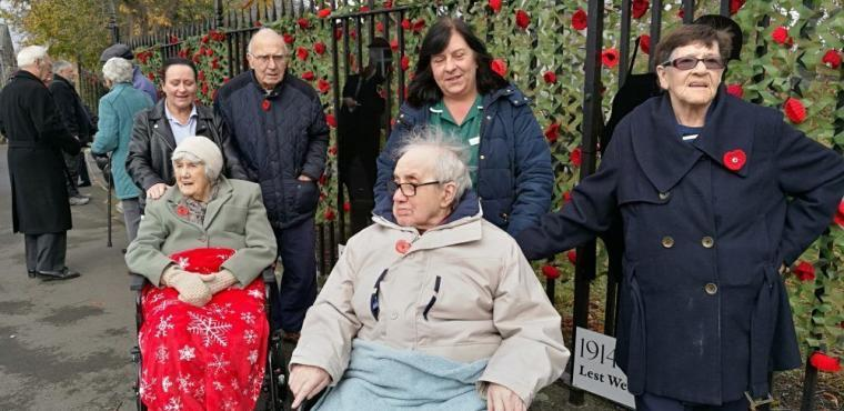 Care home residents remember at Thornaby War Memorial