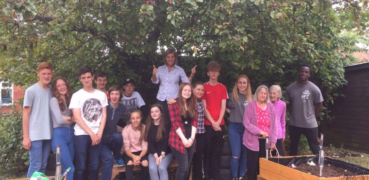Care home garden makeover by teen NCS volunteers