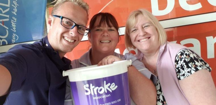 Care home staff help supermarket shoppers for Stroke Association
