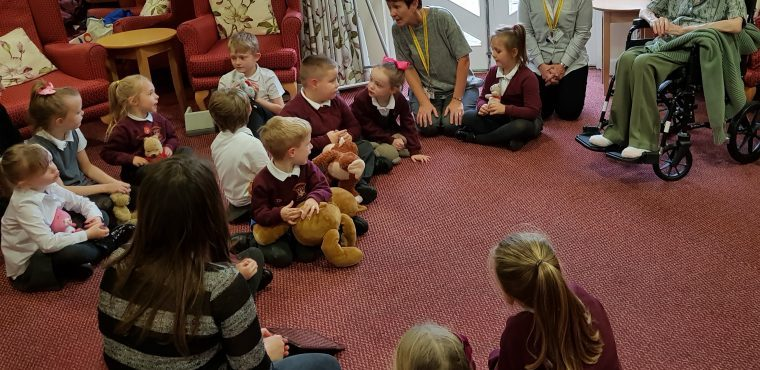 H'Angus the Monkey surprises pupils during care home visit