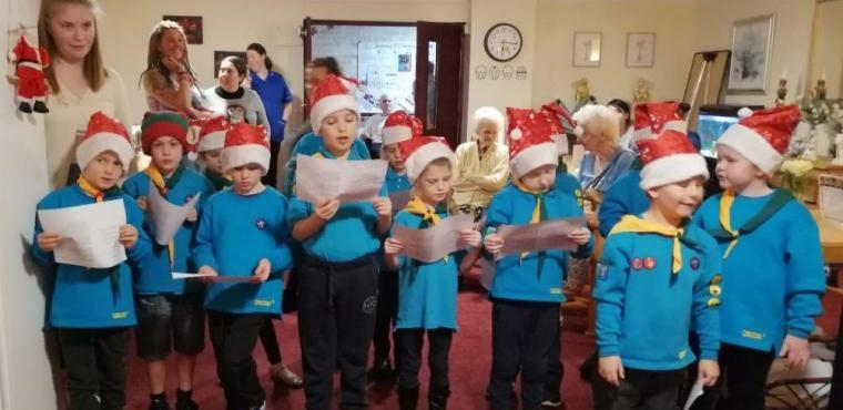 Beavers sing Christmas carols at Runcorn care home