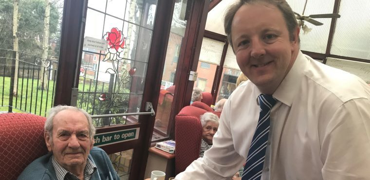 MP joins residents for care home flag painting
