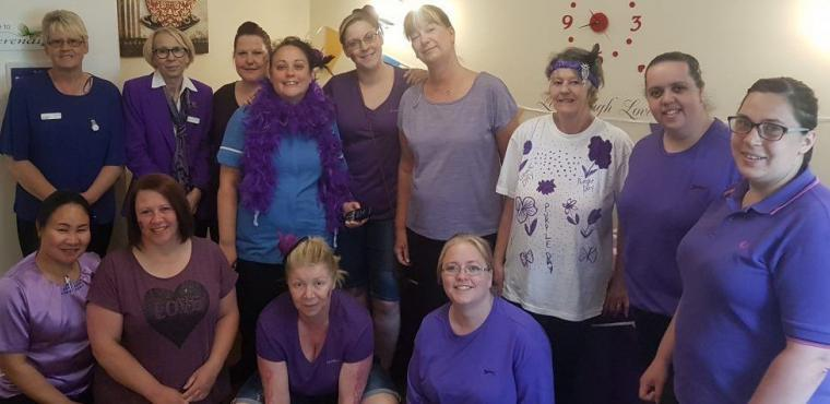 Purple custard chucked at care home manager for charity