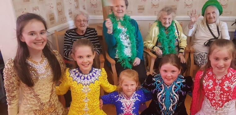 Irish dancers perform for elderly on St Patrick's Day
