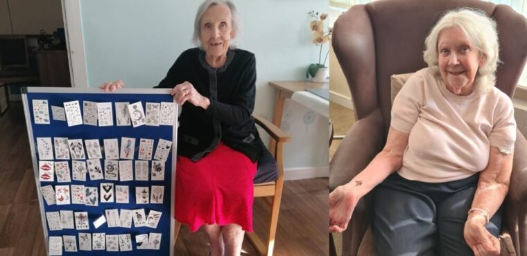 Care home's temporary tattoo parlour for residents