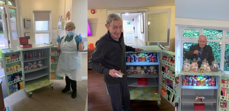 Trolley transformed into care home travelling tuck shop