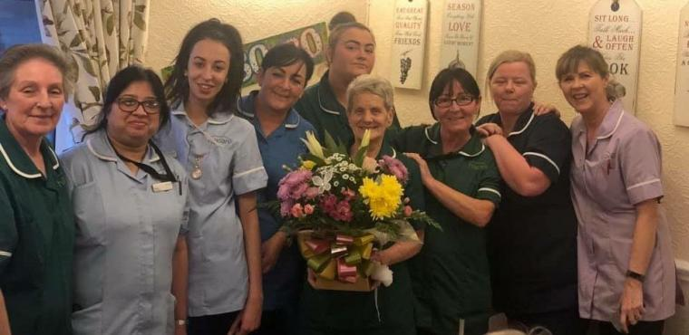 Care home cleaner Brenda, 80, gets surprise birthday party