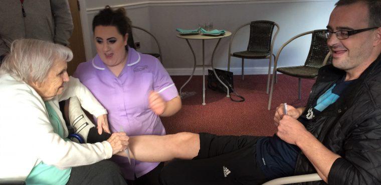 Elderly rip wax strips off John's legs to raise funds