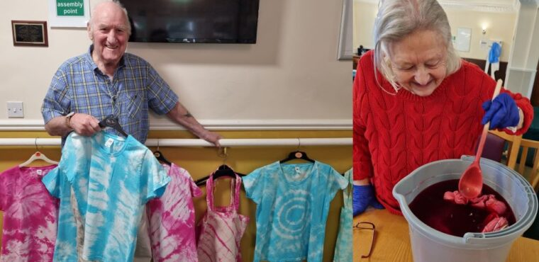 Care home residents tie dye t-shirts for guide dog charity