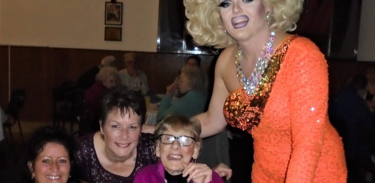 Drag queen performs pop classics for care home residents