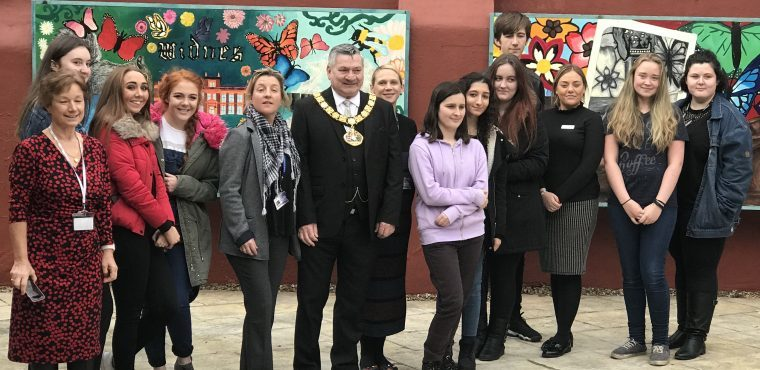 Mayor unveils students' murals at Widnes care home