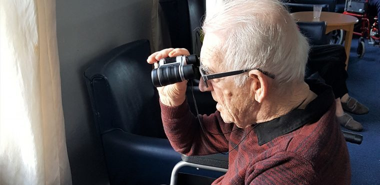 Elderly twitchers take part in RSPB Big Garden Birdwatch