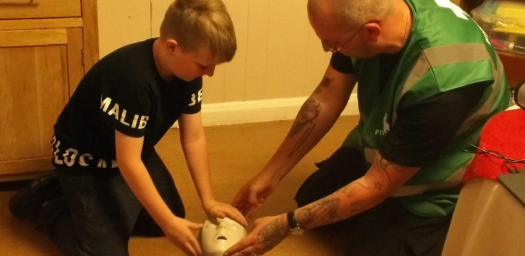 Children's first aid session at care home