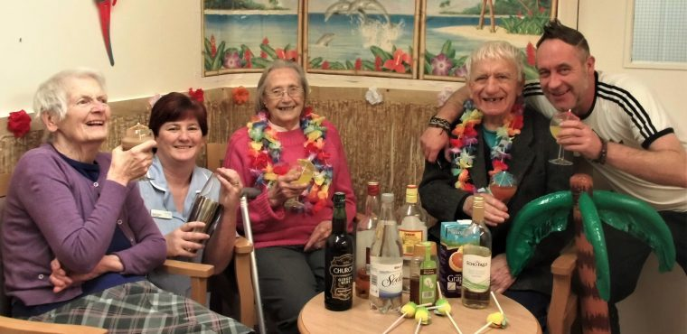 Hawaiian cocktail party hosted by Blyth elderly