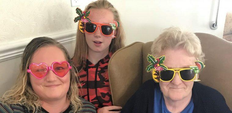 Elderly wear wacky shades for sun safety message