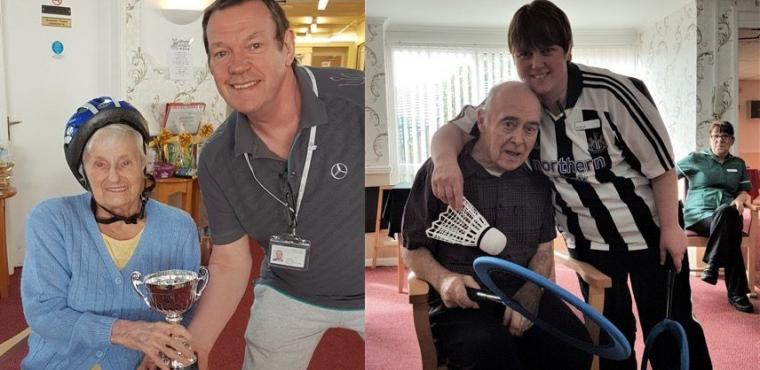 Competitive care home residents play indoor badminton