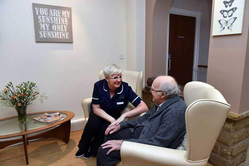 staff with resident at west Yorkshire care home